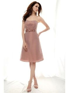 Short Pleated A-line Strapless Chiffon over Taffeta Bridesmaid / Wedding Party Dress - Didobridal