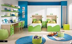 Bedroom interior decor with Twin Storage Bed for Children