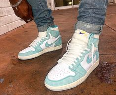 Air jordan 1 turbo green snrks & slides in 2019 Jordan Retro 1, Jordan 1, Air Jordan Sneakers, Nike Air Shoes, Jordan Shoes, Green Jordans, Air Jordans, Jordans Outfit For Men, Hypebeast