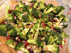 Broccoli salad - this seems close to a great one I had in Greenville, SC recently. Might use Craisins instead of raisins.