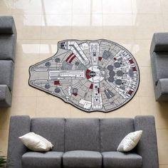 Star Wars Grey Millenium Falcon Rug X for the play room! Figuras Star Wars, Star Wars Bedroom, Star Wars Decor, Star Wars Love, Millenium Falcon, Take My Money, The Force Is Strong, Geek Out, Decoration