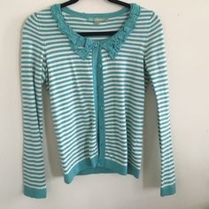 Boden  size 2 (uk 6) cardigan Pretty teal and white cardigan with beautiful detailing around collar. In perfect condition. Fits a us size 4-6 too. Boden Sweaters Cardigans