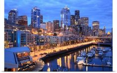 Poster Print Wall Art Print entitled Seattle skyline and harbor, Washington State, None