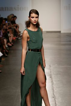 green long silk dress with metal belt and trail