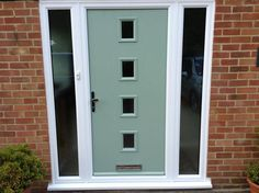 4 Square Glazed Composite Front Door in Chartwell Green with 2 Glazed Side Lights