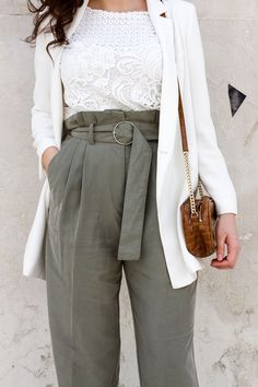 frühjahr sommer outfit 2018 Paperbag- Pants Culotte Highwaist Streetstyle, Fashion Blog