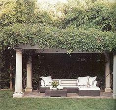In Monique Lhuillier's Bel Air home, the pergola features Dedon furniture from Janus et Cie. Outdoor Rooms, Outdoor Gardens, Outdoor Living, Outdoor Decor, Outdoor Seating, Outdoor Pergola, Outdoor Furniture, Outdoor Lounge, Gazebo
