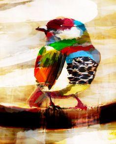 frohliche Malerei Vogel, schöne Farben