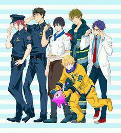 Future fish! ...  Free! - Iwatobi Swim Club, haruka nanase, haru nanase, haru, free!, iwatobi, makoto tachibana, makoto, tachibana, nagisa hazuki, nagisa, hazuki, nanase, rei, rei ryugazaki, ryugazaki, sosuke, sosuke yamazaki, yamazaki, sosouke, sosouke yamazaki, rin, rin matsuoka, matsuoka, cop, cook, firefighter, scientist, astronaute, alien, fireman