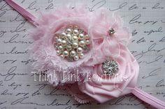 Baby headband, flower headband, headband, shabby chic roses headband,pink headband. $9.95, via Etsy.