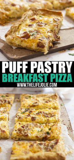 This Puff Pastry Breakfast Pizza recipe is super easy and fast. You can put whatever toppings on it, but I love it with bacon, eggs and cheese. This is great for brunch, Christmas morning or a nice, relaxing weekend breakfast! Bacon Breakfast, Breakfast Casserole Sausage, Breakfast For Dinner, Breakfast Recipes, Breakfast Buffet, Brunch Buffet, Breakfast Crockpot, Food Buffet, Buffet Ideas