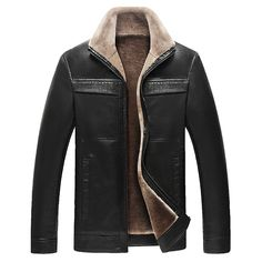 Faux Leather Thick Fleece Warm Biker Vintage Jacket for Men is Stylish-NewChic Mobile