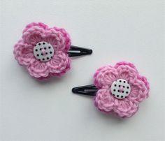 Girls Crochet Hair Clip   Accessory   Pair of Flower Hairclip   Hand Crocheted