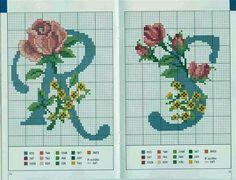 Schemi per il punto croce: Alfabeto con le rose