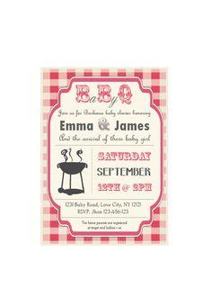 Baby-Q Baby Shower BBQ invitation couples - boy or girl. $8.90, via Etsy.