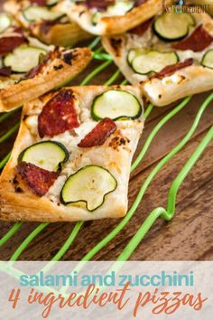 Easy to make and only using 4 ingredients, these salami and zucchini 4 ingredient pizzas are super simple for the lunchbox. Salty, crunchy, and with a hit of veggies, they are the ultimate in easy lunchbox food. #kidgredients #lunchbox #pizzas #4ingredients #bake #salami #zucchini #puffpastry #homemade #pizza
