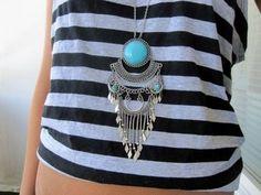 striped shirt - southwestern jewelry