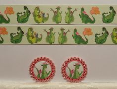"""2 Yards 1"""" Pete's Dragon Inspired Grosgrain Ribbon and 2 Resin #Unbranded"""
