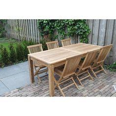 Garden Teak Tuinset Albany tafel met klapstoelen viking