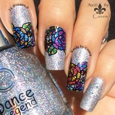 Nails by Cassis: Stained Glass Flowers Mani