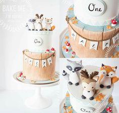 Birthday Party Cake Ideas for Boys – Woodland Cake Tutorial Baby Boy Cake Topper, Baby Boy Cakes, Cakes For Boys, Baby Shower Cakes, Baby Boy 1st Birthday Party, Baby Birthday Cakes, Woodland Cake, Woodland Party, 1st Birthdays