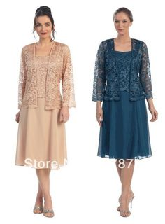 Grandmother of the Bride Free Shipping Custom Plus Size Tea length Chiffon Mother of the Bride Groom Dress long Sleeve vintage Lace Jacket-in Mother of the Bride Dresses from Apparel Accessories on Aliexpress.com $132.99