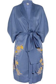 CARINE GILSON  Théme Tamara lace-appliquéd silk-satin robe