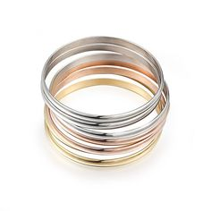 Women's Multi-strand 7pcs Tri-color Silver/ Gold / Rose Gold Stainless Steel Bracelet Bangle Set 8.5 Inch