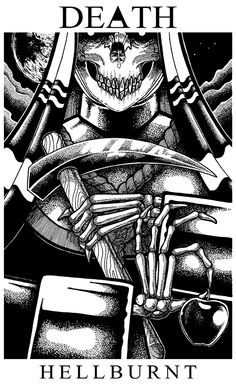 Drawing, death, tarot, artwork
