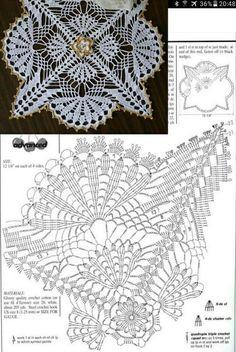 Beautiful Crochet Doily♥ Deniz Beautiful Crochet Doily♥ Deniz Learn the rudiments of how to needlecr Free Crochet Doily Patterns, Crochet Doily Diagram, Crochet Chart, Crochet Squares, Thread Crochet, Crochet Motif, Crochet Designs, Crochet Stitches, Crochet Tablecloth Pattern