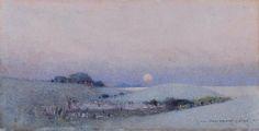 John William Tristram (1872 — 1938, Australia) Landscape with rising moon. 1921 watercolour on paper. 17.7 x 36.7 cm.