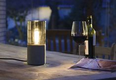 Cool little concrete outdoor table light by SLV