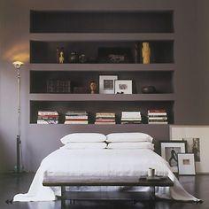 #gray #bedroom #bookshelf