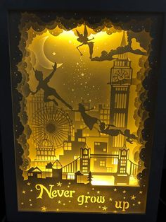 Silhouette Peter pan paper cut Light box Night light by trysogodar