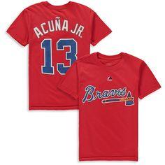 Atlanta Braves Majestic Youth Player Name & Number T-Shirt - Navy Atlanta Braves Shirt, Braves Game, Cotton Shorts, Jr, Youth, Short Sleeves, Number, T Shirt, Navy
