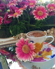 Puzzle Gerberas and Coffee - online jigsaw puzzle games. Jigsaw puzzles, puzzle games for kids. Play free jigsaw puzzle Gerberas and Coffee. Coffee Gif, Happy Coffee, Coffee Love, Morning Coffee, Good Morning, Create Your Own Puzzle, Free Jigsaw Puzzles, Puzzle Games For Kids, Breakfast Tea