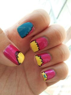Cartoon Nails Simpsons - would do on white background rather than pink