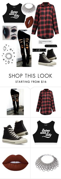 """Untitled #1917"" by drunkenwolfchild ❤ liked on Polyvore featuring Converse, Lime Crime and Simon Harrison"