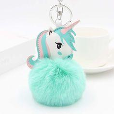 a5d5640fb Cute Fluffy Unicorn Keychain. Animal Key RingsJewelry SetsJewelry  AccessoriesCar Key RingFur Pom ...
