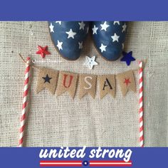 Patriotic Cake Topper Fourth of July Banner USA by QueensBanners