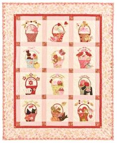 a Tisket a Tasket Applique Quilt Pattern From Bunny Hill Designs for sale online Bonnie Hunter, Pink Quilts, Baby Quilts, Children's Quilts, Patchwork Quilting, Applique Quilt Patterns, Pdf Patterns, Applique Ideas, Embroidery Patterns