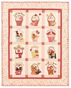 A Tisket, A Tasket pink quilt. Bonnie Hunter, Pink Quilts, Baby Quilts, Children's Quilts, Patchwork Quilting, Applique Quilt Patterns, Pdf Patterns, Applique Ideas, Embroidery Patterns