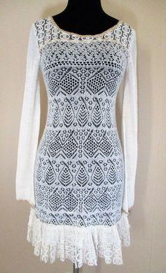 Free People 'Dreamy Lace' Sweater Dress ivory wool blend crochet knit lace XS #FreePeople #SweaterDress