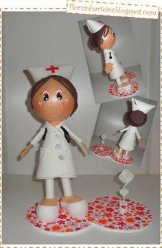 Florzinha Arteira: Fofucha de EVA - Boneca Enfermeira