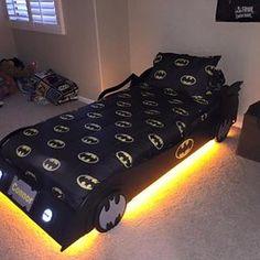 Children's Batman Bat Mobile Bed Project Plans -Design #1BTMB Batman Bedroom, Superhero Room, Kids Room Design, Kids Bedroom, Bedroom Ideas, Kid Beds, New Room, Kids Furniture, Decoration