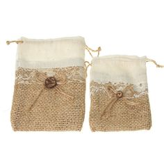 Jute Pouch Bag with Lace Center 1-pack by PartySpin on Etsy