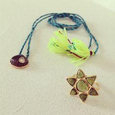 DEZSO by Sara Beltrán Anadara gold, polki diamond, shell-carved smoked quartz, cord necklace + PIPPA SMALL 'Flower' gold ring in green tourmaline @ WHITE bIRD Jewellery.