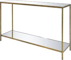 Jonathan Hall Table w/Shelf-Small - Iron Base w/Shell or Reverse Beveled Antiqued Mirror Top