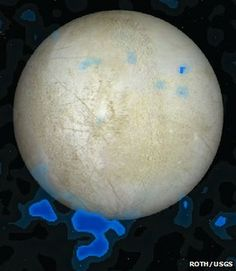 Signatures of water (blue) detected by Hubble are overlayed on an image of Europa, one of Jupiter's moons.