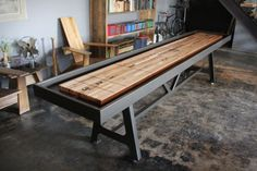 Industrial Style Shuffleboard    Could Use Square Tubing + Salvaged Wood  For Design. Possibly Use As Base For Ernieu0027s Condo When Not In Use?